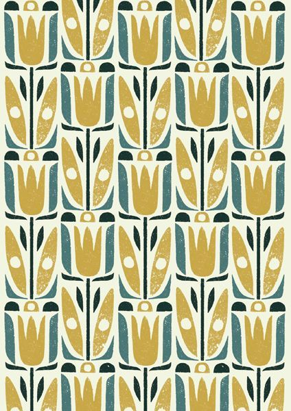 retro flower silhouette pattern, mustard and ms wrought iron