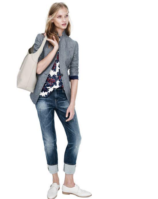 Just the blazer & jeans for me - J.Crew women's Regent chambray blazer, slim broken-in boyfriend jean in michel wash.