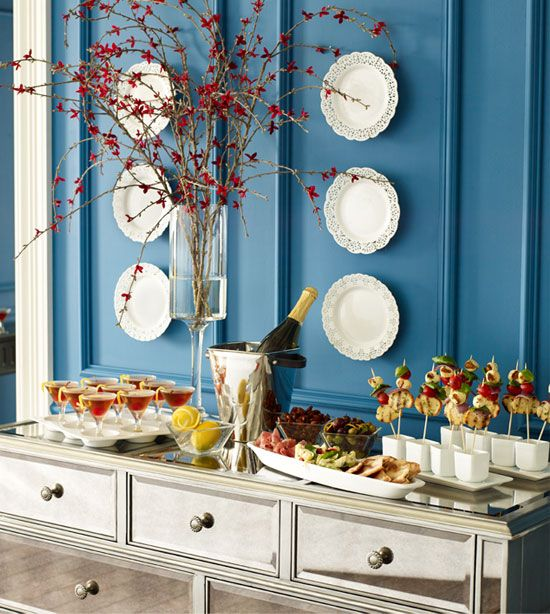146 best buffet style service ideas images on pinterest for Christmas lunch table setting ideas