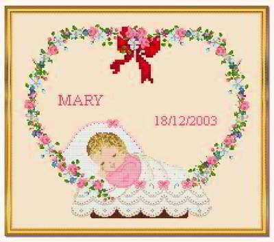My Girl Birth Announcement cross stitch pattern.