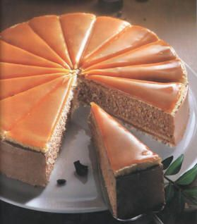 Dobos torta (layered sponge cake with chocolate cream and topped with caramelized sugar)