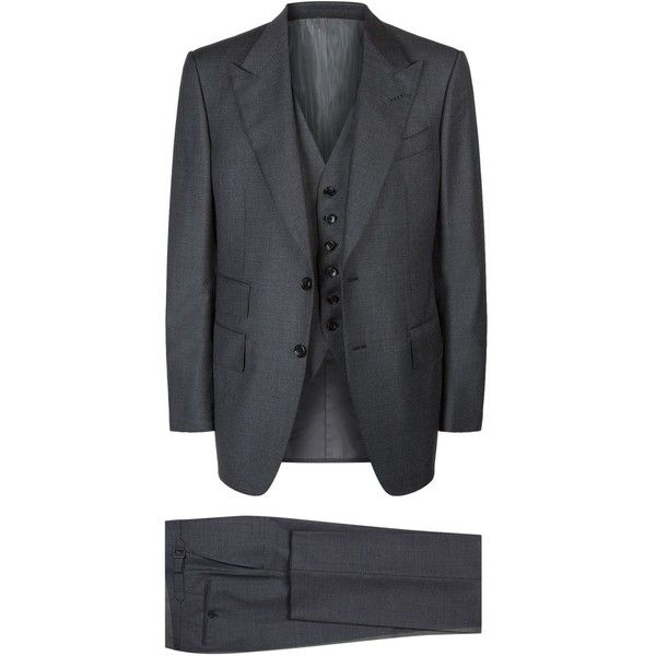 TOM FORD Windsor Suit ($3,900) ❤ liked on Polyvore featuring men's fashion, men's clothing, men's suits, mens grey 3 piece suit, mens grey suits, mens three piece suit, mens 3 piece suits and tom ford mens suits