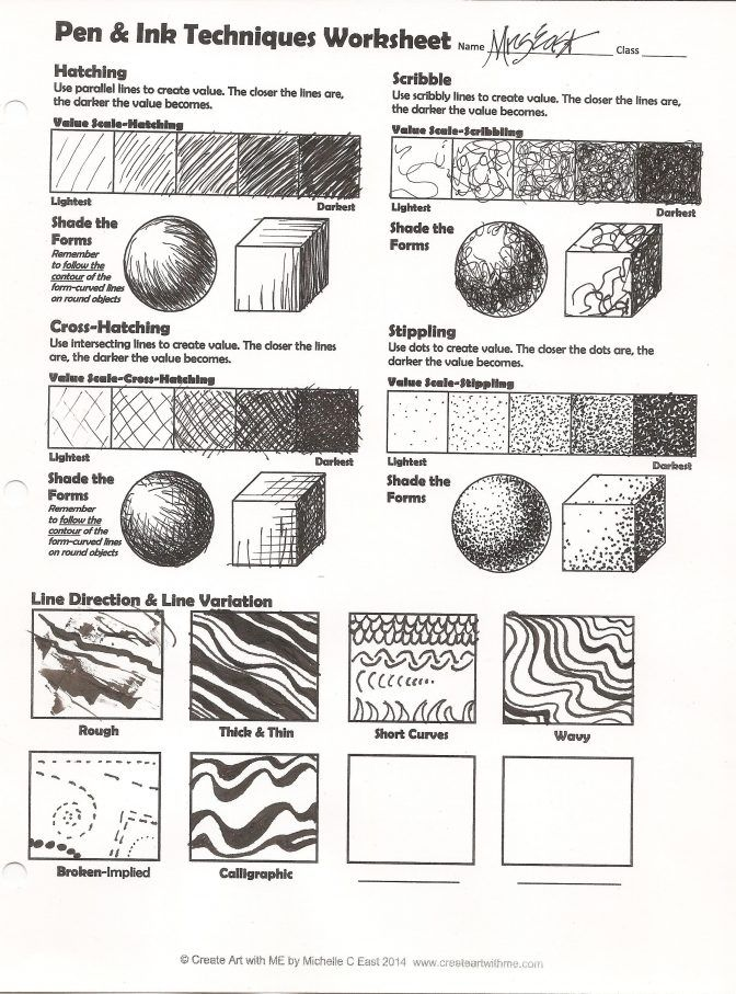 Image result for drawing techniques worksheet