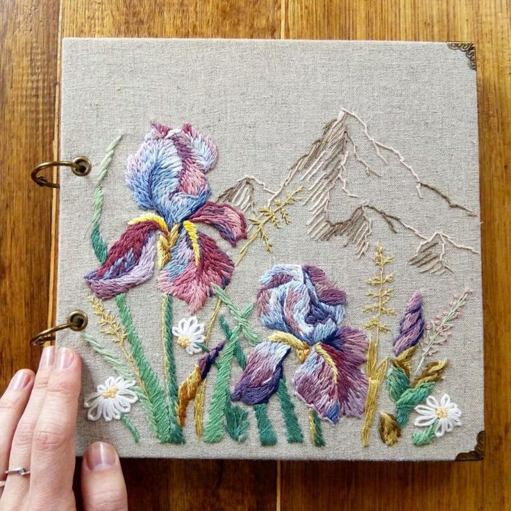 Natasha Stasenko (@natastass) в Instagram: «And finally it's done:) photoalbum with embroidery.   #embroidery #handembroidery #photoalbum #irises #iris #mountains #contemporaryembroidery #stitching #needleart