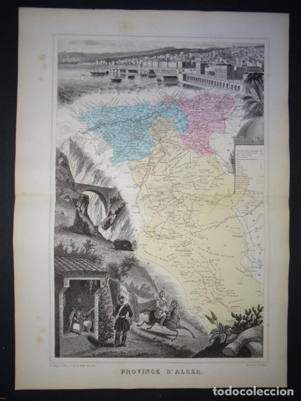 GRAN MAPA DE ARGELIA (ÁFRICA), 1878. VUULLEMIN/MIGEON (Arte - Cartografía Antigua (hasta S. XIX))