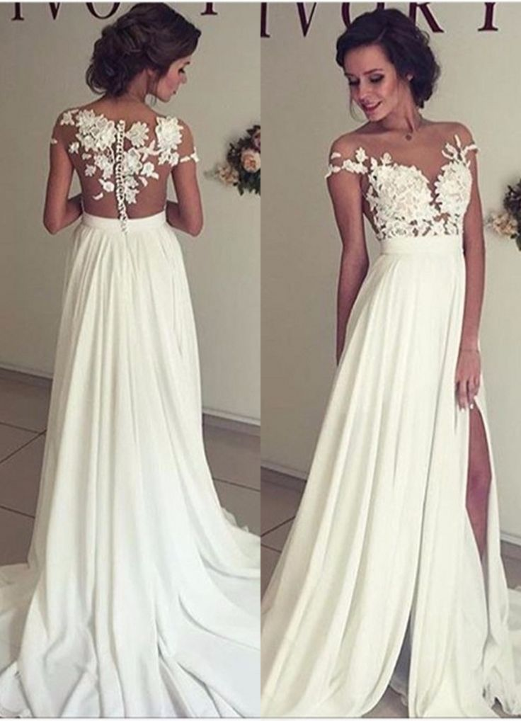 Fresh  Summer Beach Chiffon Wedding Dresses Lace and Chiffon Wedding Dress A line Wedding Dresses Charming Prom Dresses Lace Top Short Sleeves Side Slit
