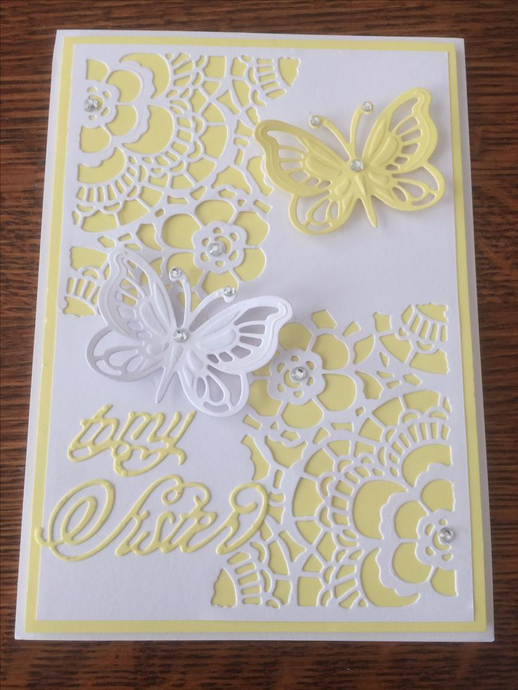 Bernita Holliday using: Spellbinders: Brilliant Butterfly die, Tim Holtz: Mixed Media die & Anna Griffin: Wishful Thinking dies.