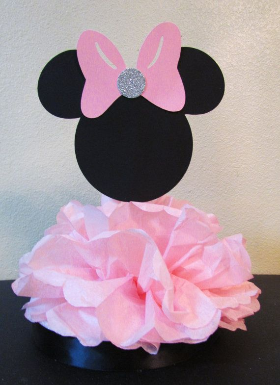 Minnie mouse centerpiece birthday party or baby shower by for Baby minnie mouse decoration ideas