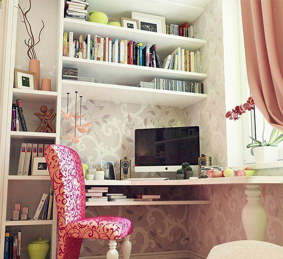 Идея, как оформить рабочее место у окна - угловой стол + стеллаж и полочки. И красивый стул!))