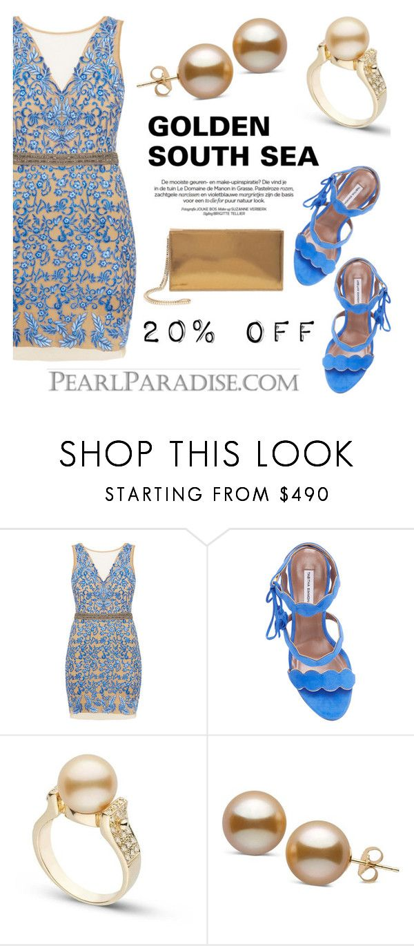 """""""Golden South Sea Pearls/On Sale now"""" by pearlparadise ❤ liked on Polyvore featuring Nicole Miller, Tabitha Simmons and Maison Margiela"""