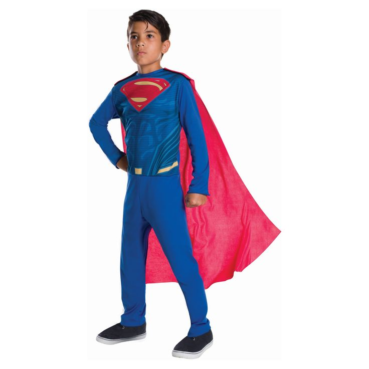 Halloween Boys' Justice League Superman Costume - L (10-12), Size: L(10-12), Multicolored
