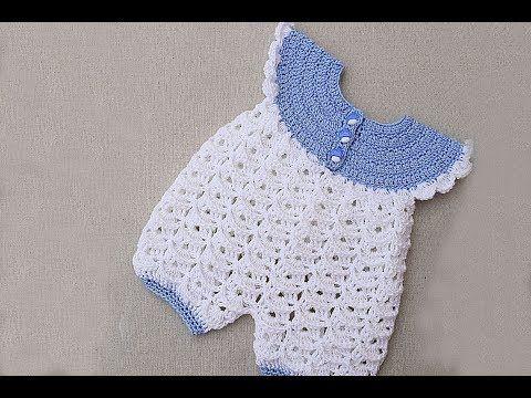 Pelele, enterizo, mameluco, ranitas o enterito de bebe a crochet muy fácil y rápido - YouTube