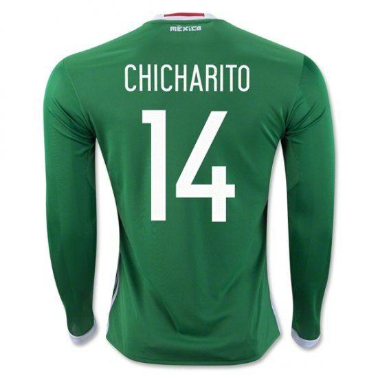 dca23f8f10bf33 ... 2016 Mexico Soccer Team Home Long Sleeve Green Replica Shirt 14  CHICHARITO Mexico Soccer Team ...