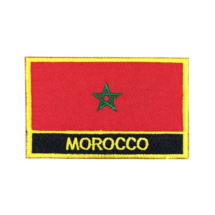 Morocco Flag Patch Embroidered Patch Gold Border Iron On patch Sew on Patch Bag Patch meet you on www.Fleckenworld.com