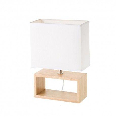Lampe rectangulaire en bois naturel 21,5 x 11 x 31,2 cm style scandinave