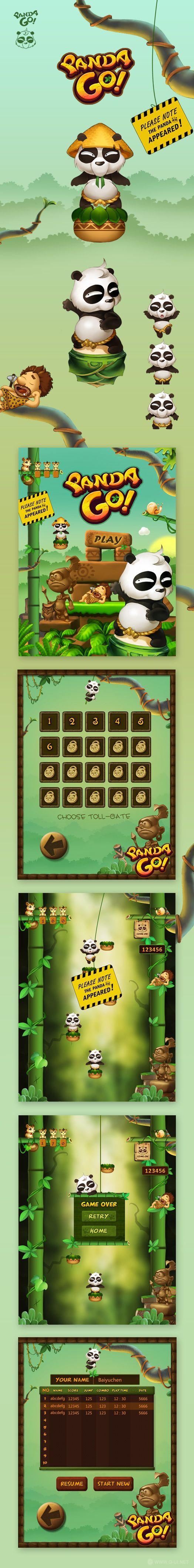 游戏ui设计 手机游戏Panda Go!...
