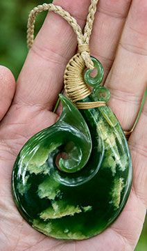 Rare New Zealand Marsden Flower Jade hook/Koru necklace by master carver Ross Crump. www.boneart.co.nz