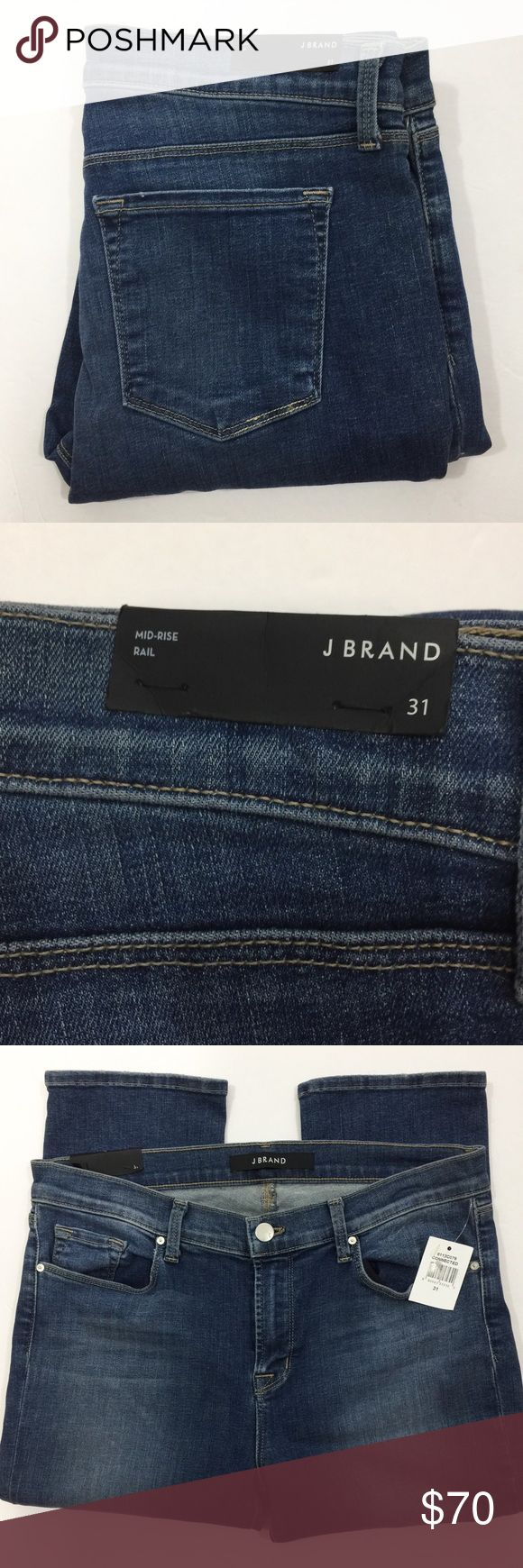 "J BRAND MID RISE 8112 RAIL SKINNY JEANS 32"" inseam. 9"" rise. 14"" back rise. Five pocket style. J Brand Jeans Skinny"