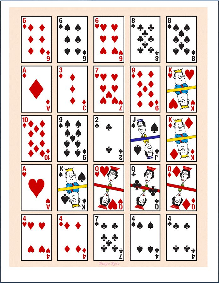 This is an image of Comprehensive Printable Playing Card