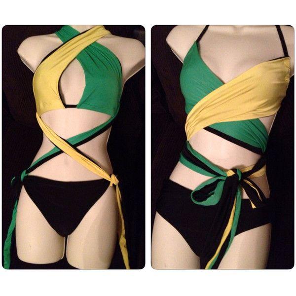 Jamaica Multi Wrap Bikini in Jamaican Colors Jamaican Colors Bikini... ($70) ❤ liked on Polyvore featuring swimwear, bikinis, black, women's clothing, bikini swimwear, bikini swim wear, bikini two piece, black bikini and wrap bikini