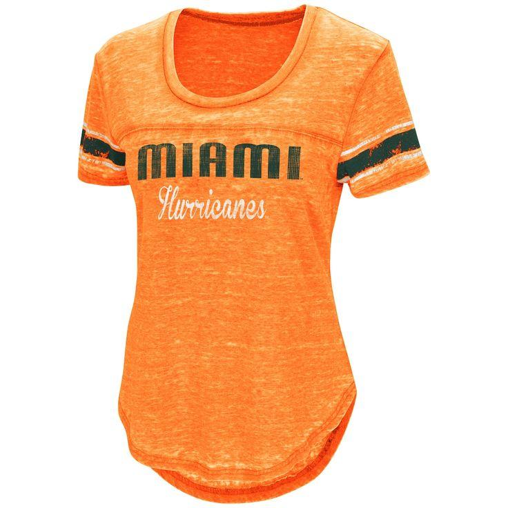 Women's Campus Heritage Miami Hurricanes Double Stag Tee, Size: Small, Drk Orange