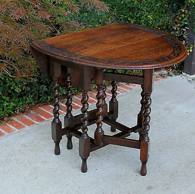Antique English Tiger Oak Drop Leaf Carved Top Gate Leg
