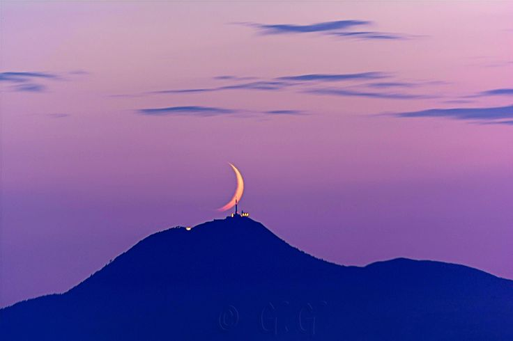 Moonset on the Puy-de-Dome at Dusk by G. G on 500px