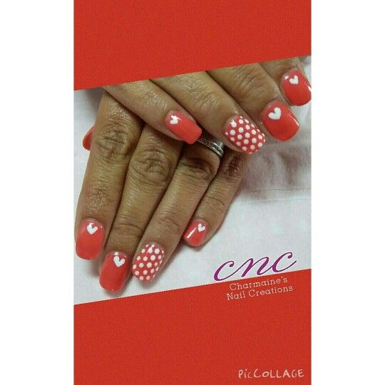 Shellac orange freehand dots and hearts