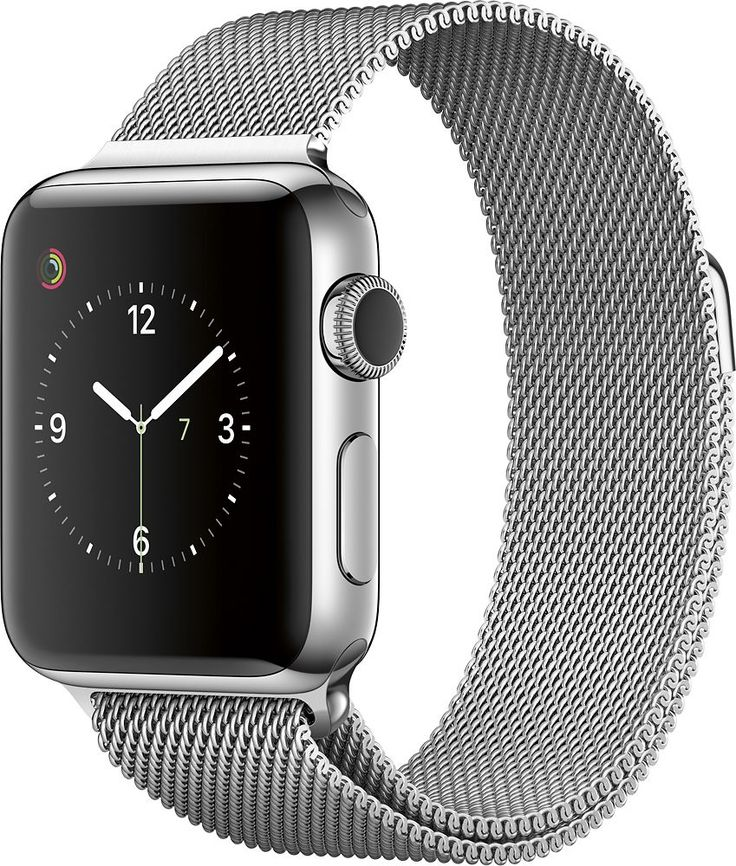 Apple - Apple Watch Series 2 38mm Stainless Steel Case Milanese Loop Band - Stainless Steel, MNP62LL/A