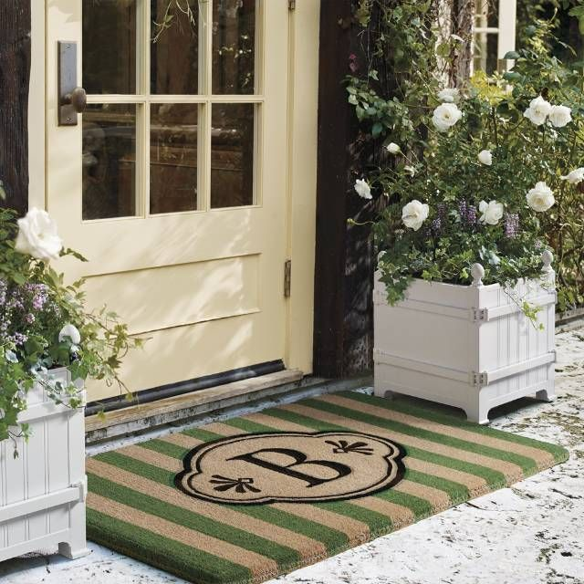 Bold stripes heighten the elegance of the medallion insignia on our Ameile Cabana Stripe Coco Mats. Crafted of coconut-husk fiber and hand stenciled with fade-resistant dyes, the mat fibers easily remove dirt from footwear while retaining colorfast brilliance season after season. To personalize, customize with a single-letter monogram.   Made from all-natural 100% coir fiber extracted from coconut husk Handwoven   Choice of monogram or non-monogram Fibers are naturally weather- and mildew…