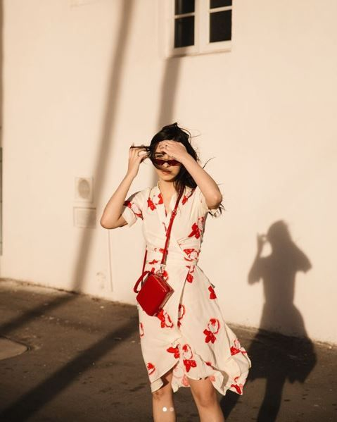 9f02883a Ganni street style | Frida Becker | Harley Crepe Wrap Dress | vmira ...
