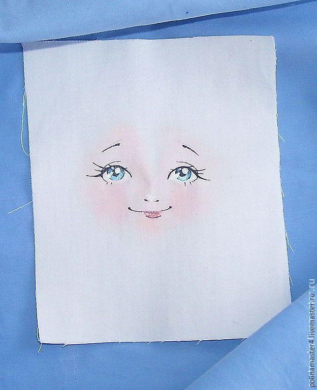 Мастер-класс для тех, кто не умеет рисовать, но любит шить кукол. Лицо куклы: 1. Скачиваем картинку и распечатываем в фото салоне на ткани. 2. Или покупаем готовое личико. 3. Или просим друга-художника нарисовать нам его на ткани. Ткань используем ту же, что и для тела самой куклы. Вырезаем лоскут с припуском 3 см вокруг самого лица: Шьем заготовки головок разных форм и размеров для примерки, я шью по этой выкройке: Шьем головки, 1 чуть больше.