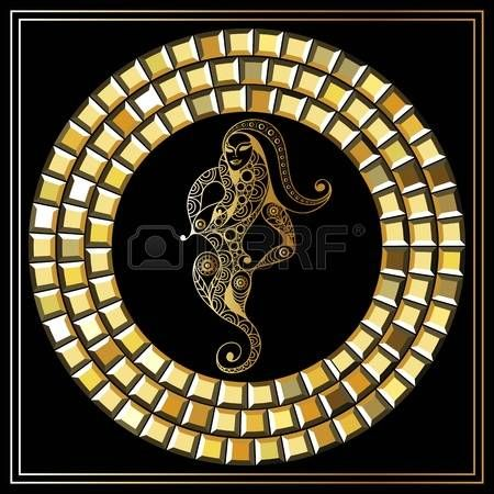 Decorative zodiac sign Ophiuchus. Horoscope and astrology (astronomy)-symbol. Vector illustration. photo