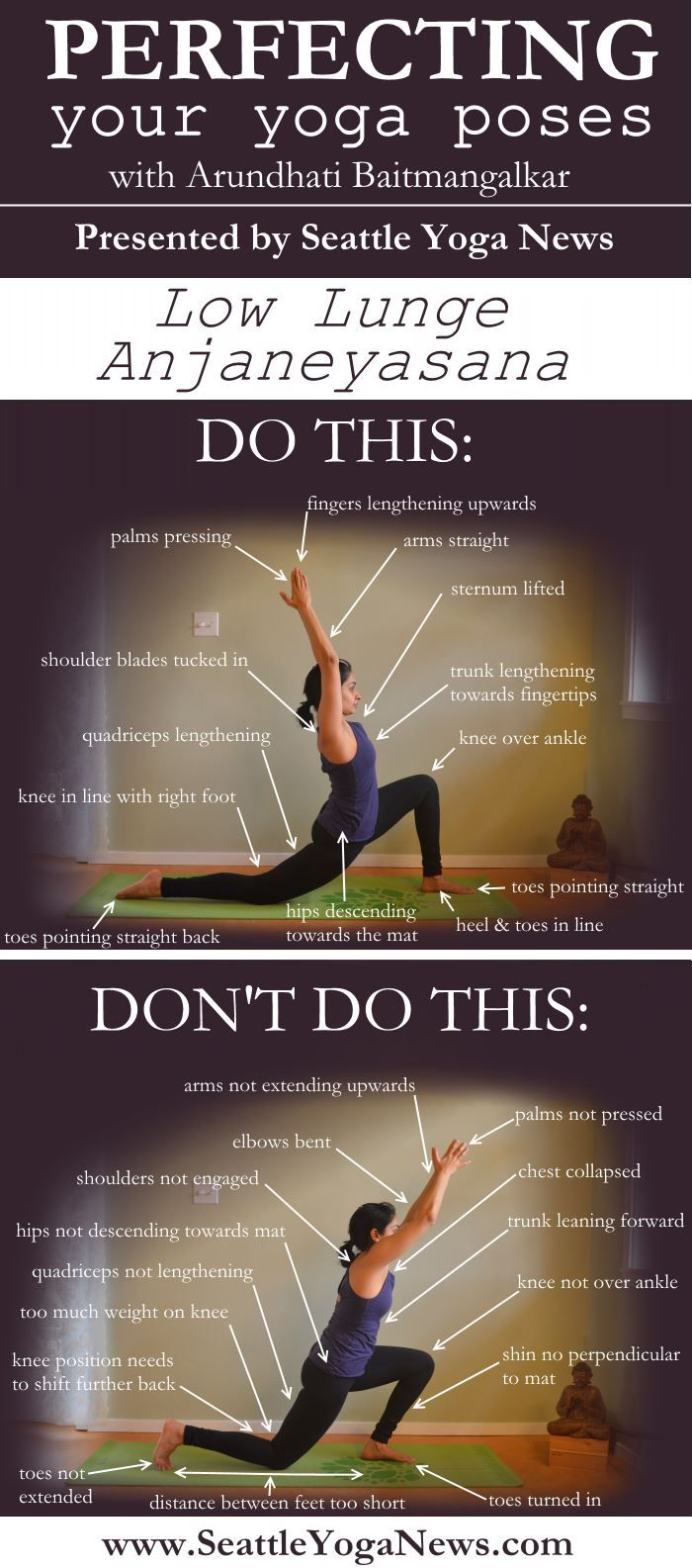 "Here's part 2 of our ""Do This Not That"" series - Low Lunge yoga pose. Ready to perfect this asana? Tags: yoga, yogi, infographic, yoga pose, yoga poses, asana, asanas, low lunge, low lunge yoga pose"