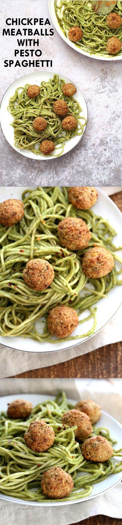 "Amazing Pesto Spaghetti with Vegan Meatballs made with Chickpeas. Vegetarian Chickpea Walnut ""meatballs"" over pesto pasta. Ready in 40 Minutes. Vegan Soyfree Recipe. Can be Glutenfree | VeganRicha.com"