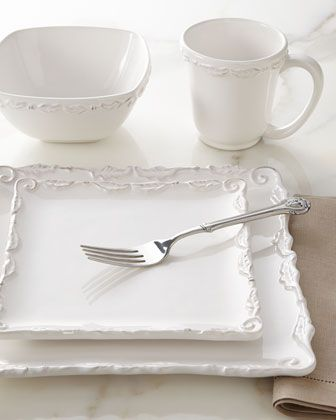 """Perfect dinnerware set for the holidays. And it is my design! 16-Piece Bianca Wave Square Dinnerware Service at Neiman Marcus. www.kristievetter.com. Can I help you with custom dinnerware design? Follow me on pinterest - """"kristie vetter""""."""