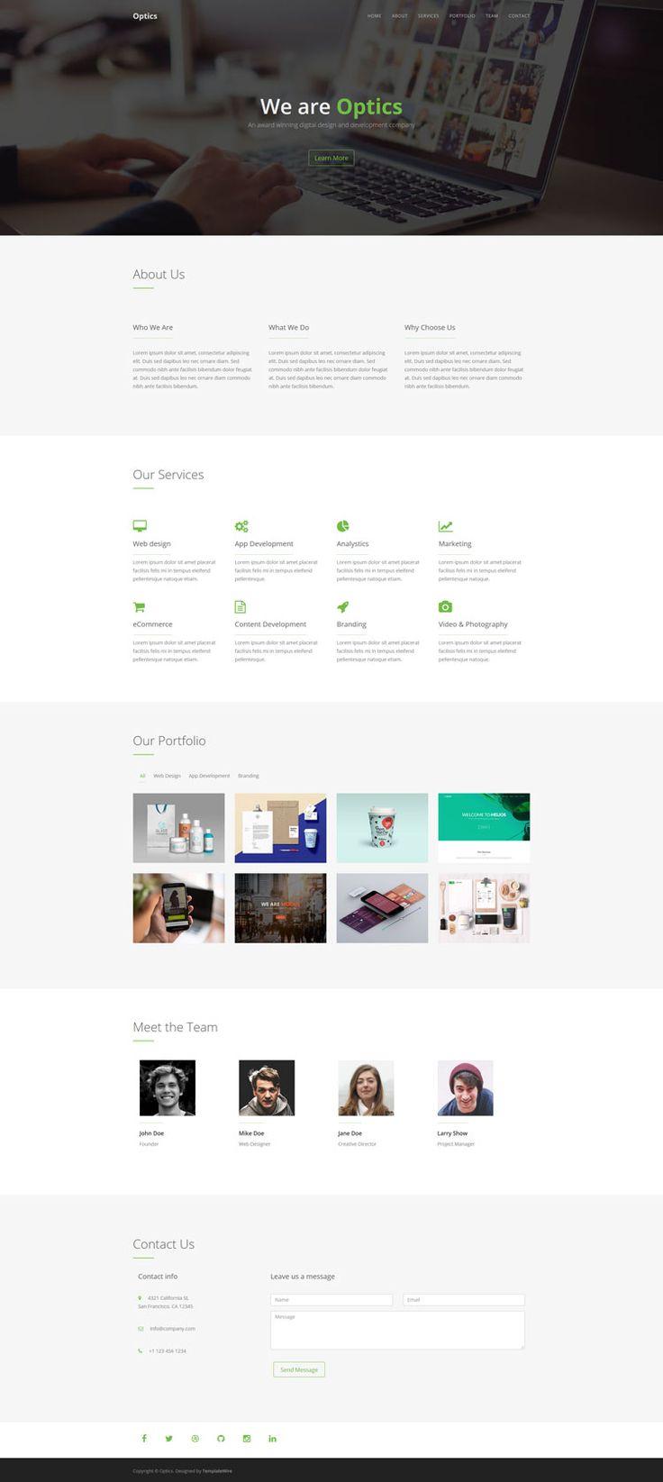 Optics - Free One Page HTML Template