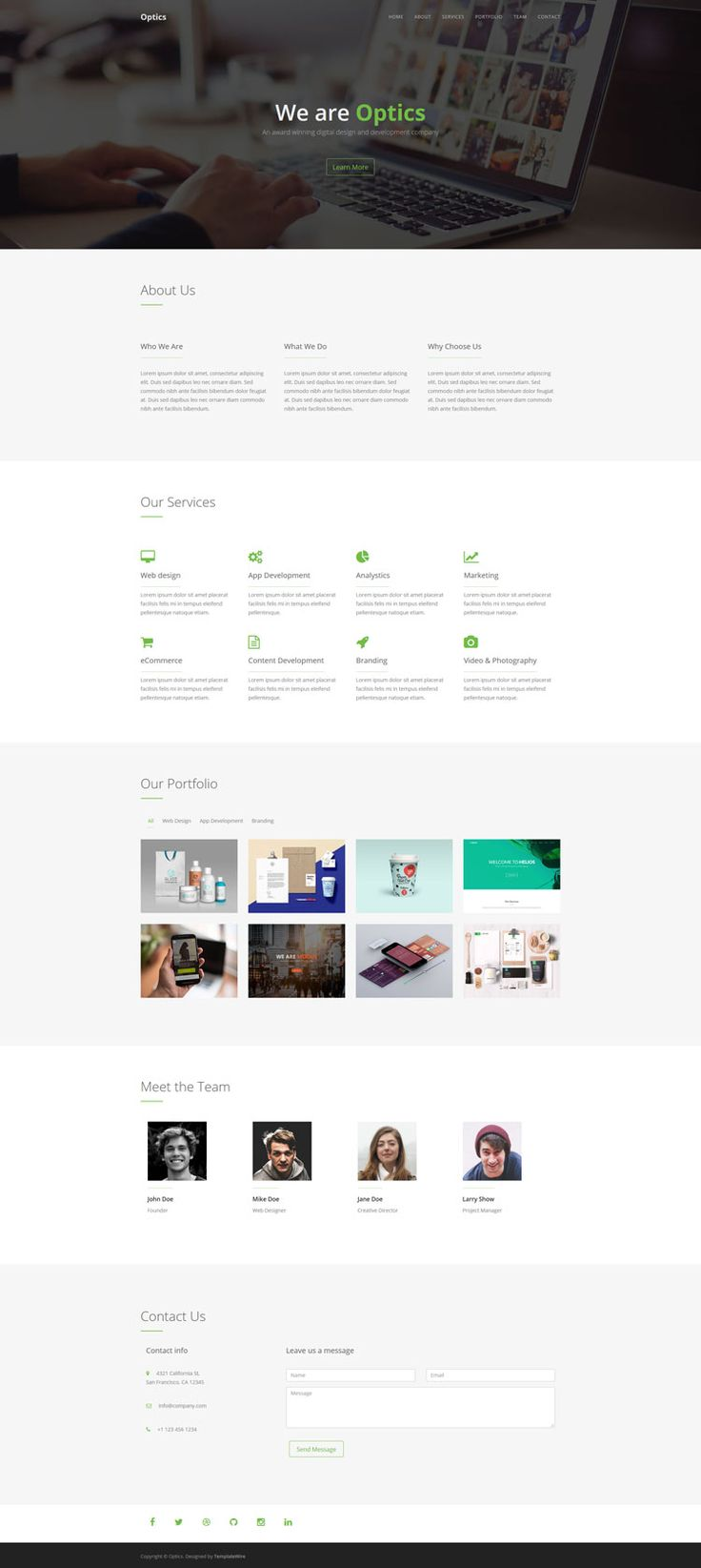 Optics - Free One Page HTML Template