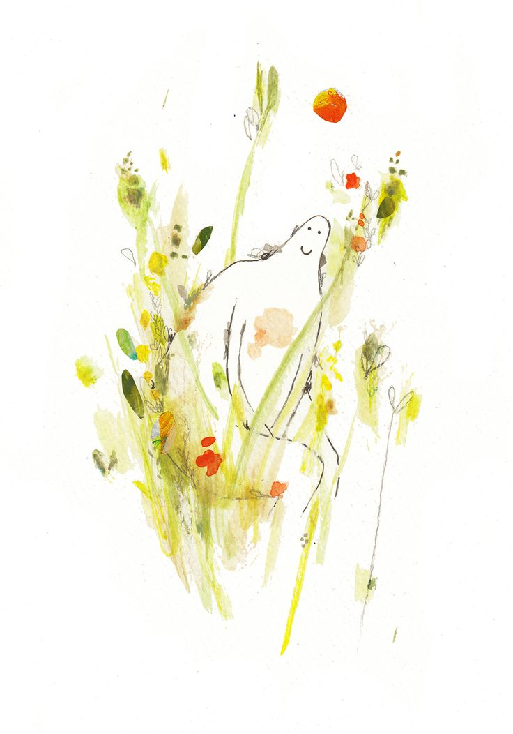 Vicky Alvarez Illustration: mira quién se esconde.... :) look who is hiding in the grass....