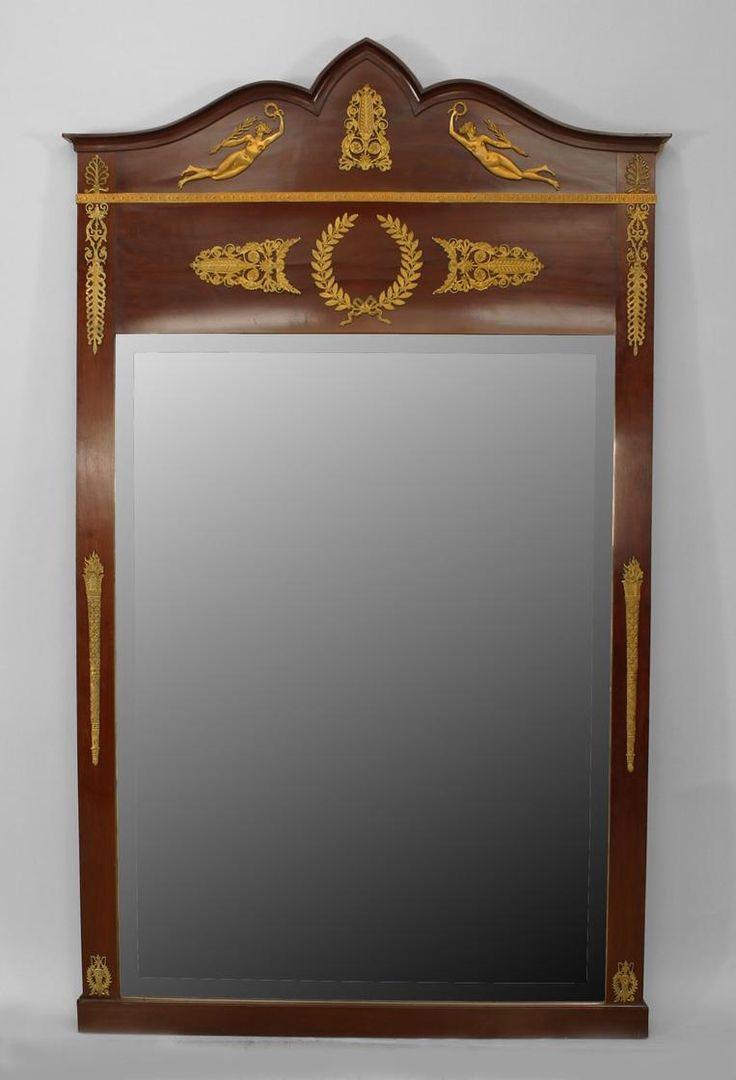 Antiqued mirror wall mirrors and mediterranean style mirrors - French Empire Mirror Wall Mirror Mahogany Antique Framesantique Mirrorsmirror