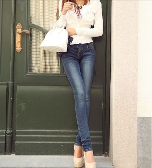 Street fashion trend. Womens High Waisted Stretch Jeans