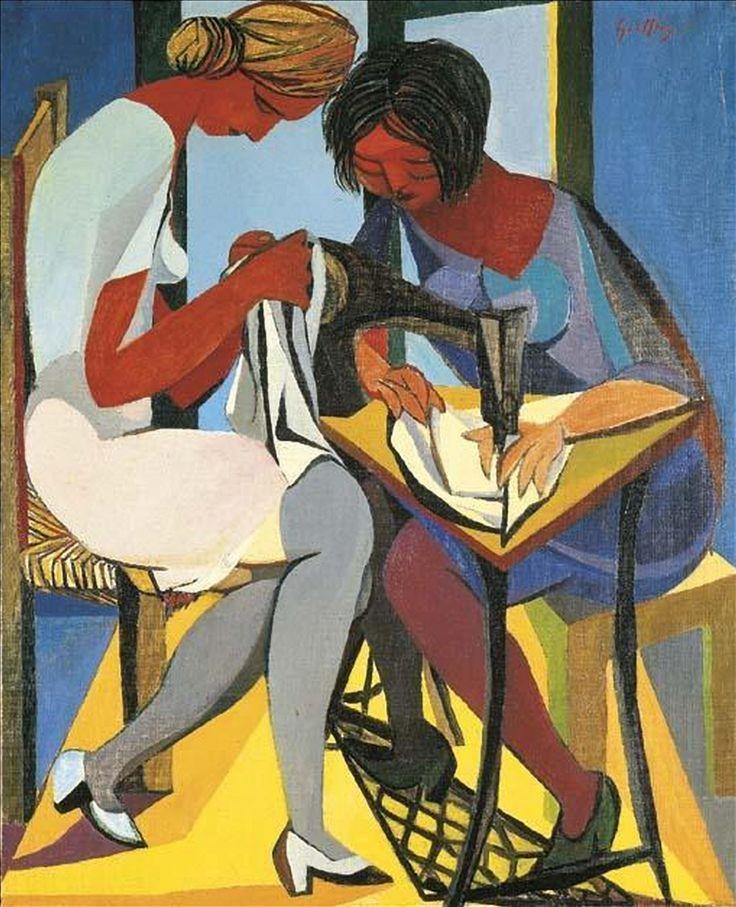 Renato Guttuso (1912-1987) Le Due Cucitrici 1947 (100 x 81 cm)