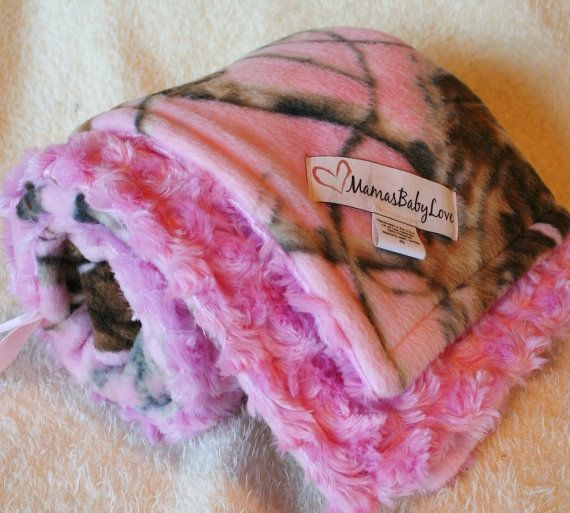 Pink Realtree Camo Fleece and Pink Minky Swirl by MamasBabyLove, $34.99