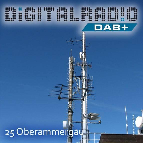 (25) Oberammergau/Oberbayern * Anlage befindet sich auf dem 1.686 Meter hohen Laber in den Ammergauer Alpen * Sender versorgt den Landkreis Garmisch-Partenkirchen * BDR mit DAB seit Anfang 2000 on air * im Jahre 2014 erhöhte der BR sein Sendernetz auf damals insgesamt 23 Digitalradio-Standorte (aktuell: 42 Standorte) *
