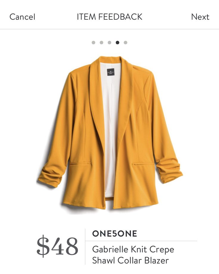 Plus Size Mustard Yellow Gabrielle Knit Crepe Shawl Collar Blazer by One5One fro…