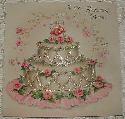 Glittered - Wedding Cake w/ PINK Roses - 1950's Vintage HALLMARK Greeting Card