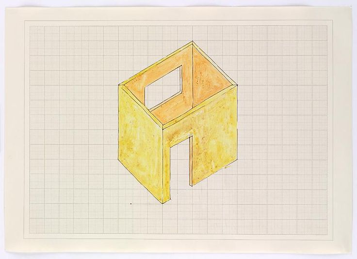 Rachel Whiteread, Study for Room (1993), Ink, watercolor and correction fluid on graph paper, 16 1/2 x 23 3/8 inches