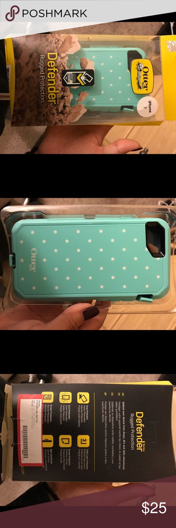 iPhone 7 otter box case Light blue with white polka dots - new - used once - comes with everything OtterBox Accessories Phone Cases