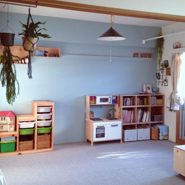 takaさんの、こどもと暮らす。,子供部屋,無印良品,IKEA,セルフペイント,DIY,和室を改造,グリーンのある暮らし,観葉植物,ベッド周り,のお部屋写真