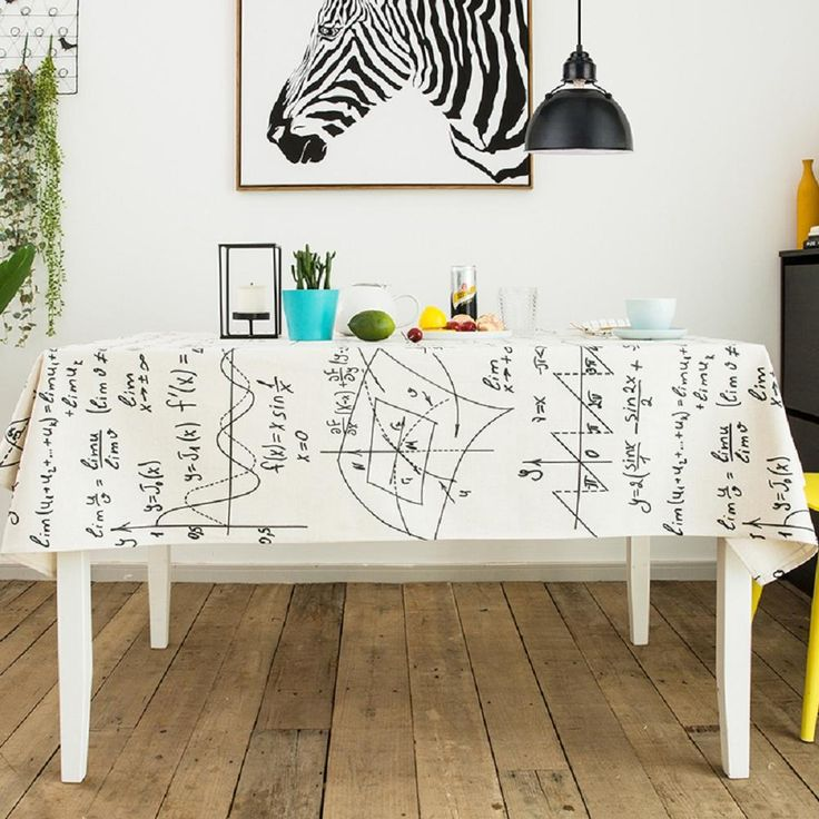 Math Is Fun Handmade Tablecloth, Cotton And Linen Blended Fabric, Thick  Fabric, Printed